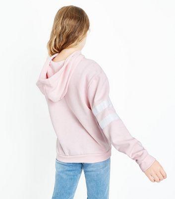 Teens Pink Stripe Sleeve Hoodie New Look