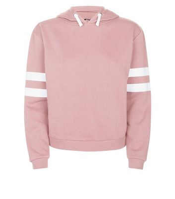 Teens Mid Pink Stripe Sleeve Hoodie New Look