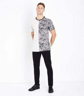 Stone Spliced T-Shirt New Look
