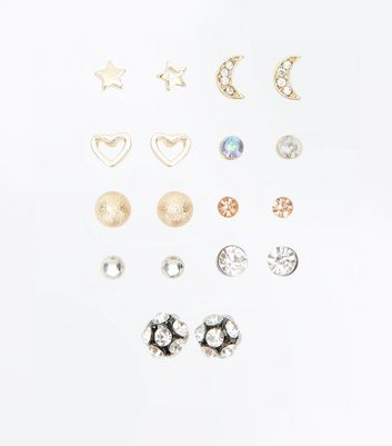9 Pack Metallic Gem Embellished Stud Earrings New Look