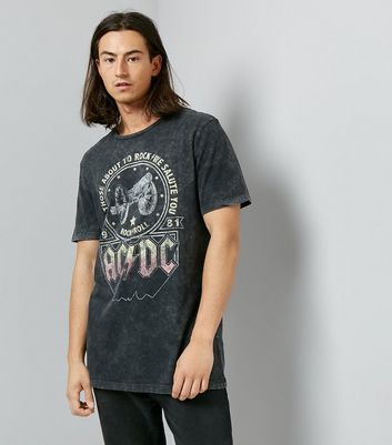 Grey ACDC Band T-Shirt New Look