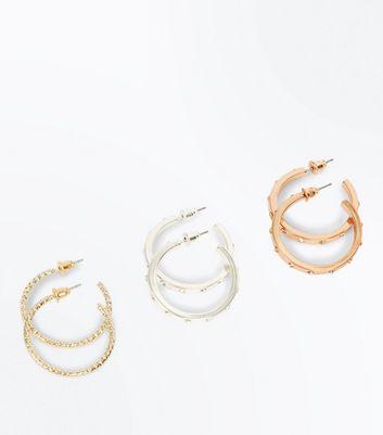 3 Pack Metallic Gem Embellished Hoop Earrings New Look