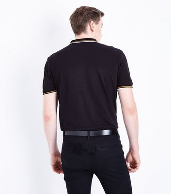 Black Contrast Trim Polo T-Shirt New Look