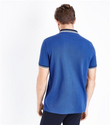 Blue Contrast Trim Polo T-Shirt New Look