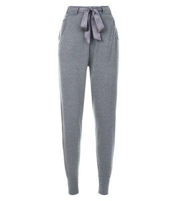 Dark Grey Satin Tie Pyjama Joggers New Look