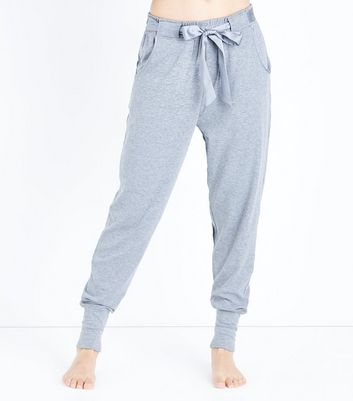 Grey Brushed Jersey Satin Tie Pyjama Joggers New Look