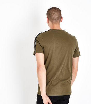 Khaki NYC Slogan Tape Sleeve T-Shirt New Look