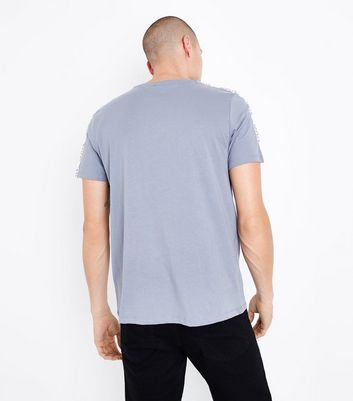 Pale Blue NYC Tape Shoulder T-Shirt New Look