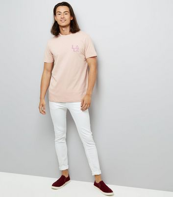 Pink LA Back Print T-Shirt New Look