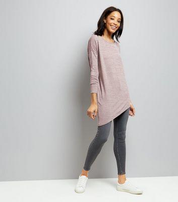 Pink Fine Knit Aysmmetric Hem Tunic Top New Look