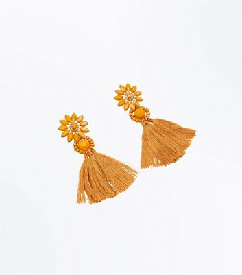 Mustard Yellow Flower Tassel Drop Earrings New Look