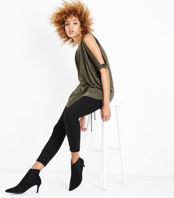 Khaki Fine Knit Lace Up Back Oversized Top New Look