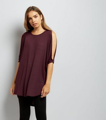 Burgundy Fine Knit Lace Up Back Oversized Top New Look