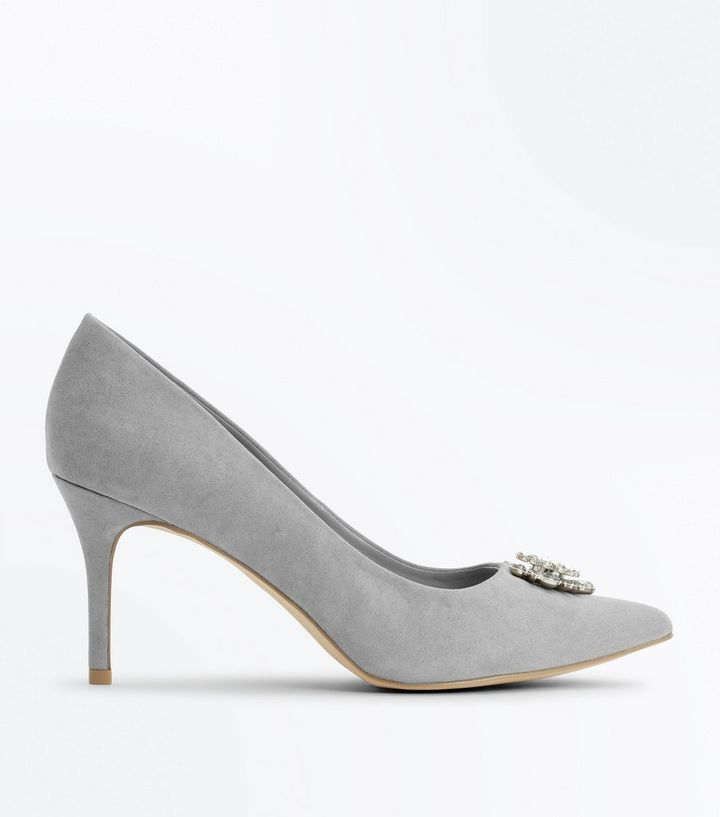 c3e3a6c6e74 Grey Suedette Embellished Pointed Court Heels