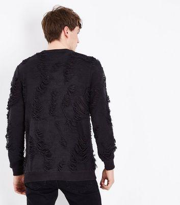 Black Distressed Crew Neck Sweatshirt New Look
