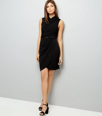 Black Wrap Mesh Back Bodycon Dress New Look