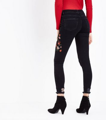 Black Floral Embroidered Ripped Hem Skinny Jenna Jeans New Look