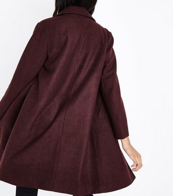 Burgundy Revere Collar Coat New Look