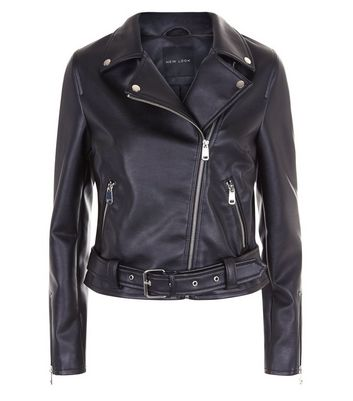 Black Leather-Look Biker Jacket New Look