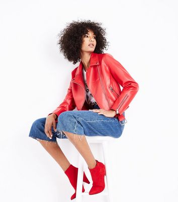 Red Leather-Look Belted Biker Jacket New Look