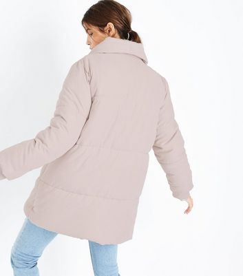 Pink Draped Puffer Jacket New Look