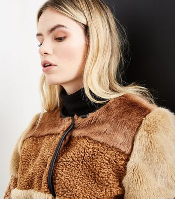 Brown Patchwork Faux Fur Jacket New Look