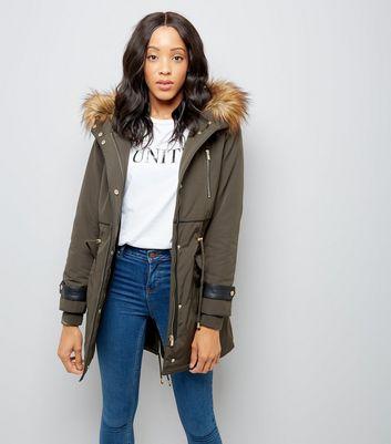 Women`s New Look Khaki Parka Jacket Coat Faux Fur Trim Hood Size UK 10