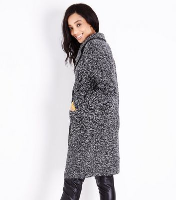 Black Marl Wide Collar Coat New Look