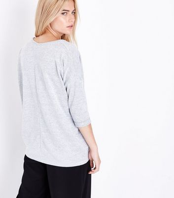 Pale Grey V Neck Fine Knit Top New Look