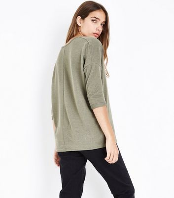 Olive Green V Neck Fine Knit Top New Look