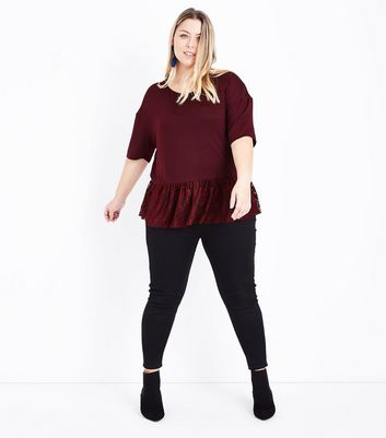 Curves Burgundy Fine Knit Lace Hem Top New Look