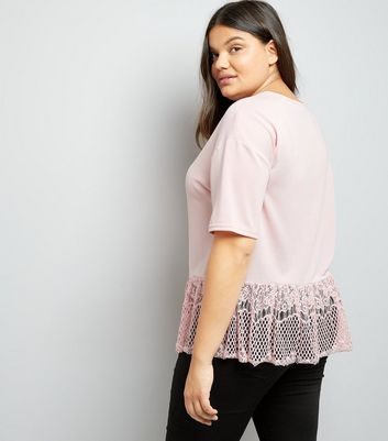 Curves Pink Fine Knit Lace Hem Top New Look
