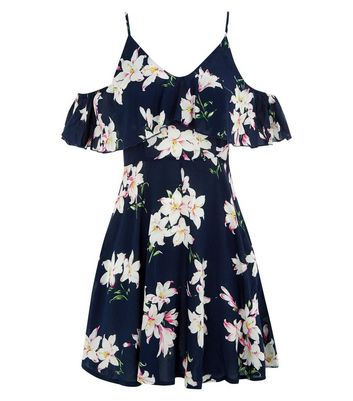 AX Paris Navy Floral Print Frill Cold Shoulder Dress New Look