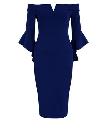AX Paris Navy Bardot Neck Frill Sleeve Dress New Look