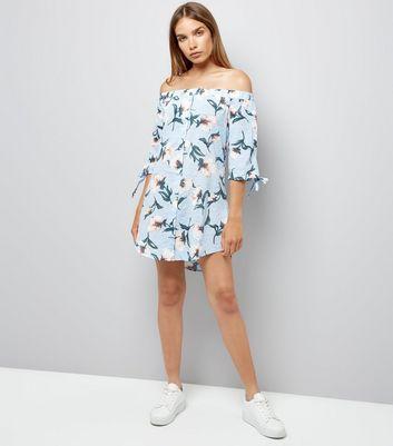 AX Paris Pale Blue Floral Bardot Dress New Look