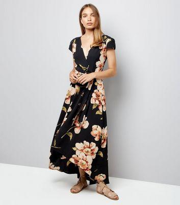 AX Paris Black Floral Wrap Front Dress New Look