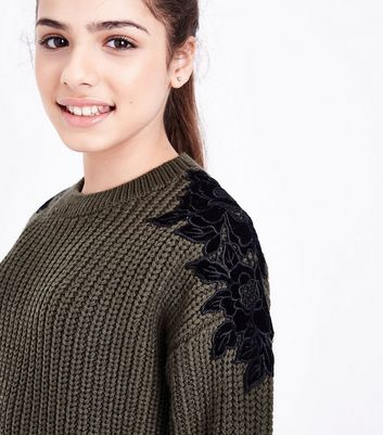 Teens Khaki Floral Lace Trim Knit Jumper New Look