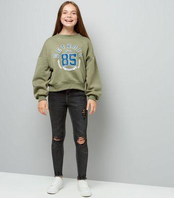 Teens Khaki Balloon Detroit Slogan Sweater New Look