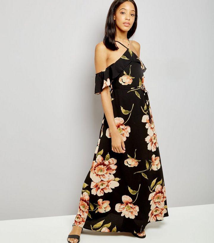 041c57a266229 AX Paris Black Floral Print Cold Shoulder Dress