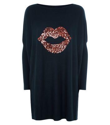 Blue Vanilla Black Sequin Lips Longline Top New Look
