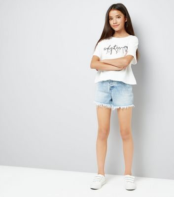 Teens White Whatever Slogan Thread Embroidered T-Shirt New Look