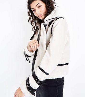 Cream Borg Buckle Trim Flight Jacket New Look