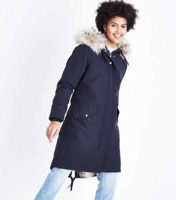 Navy Faux Fur Lined Longline Parka New Look