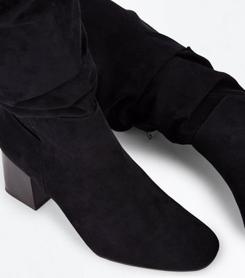 Black Suedette Extra Calf Fitting Knee High Slouch Boots New Look