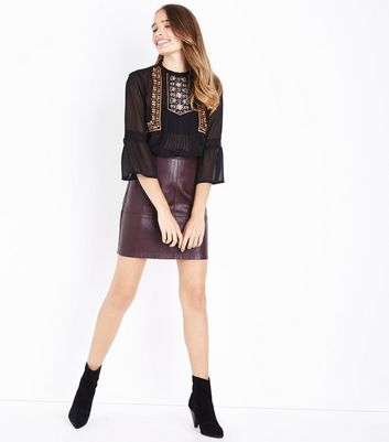 Tall Burgundy Leather-Look Mini Skirt New Look