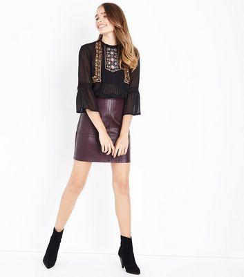 Tall Burgundy Leather-Look Mini Skirt New Look