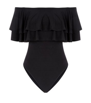 Tall Black Double Frill Bardot Neck Bodysuit New Look