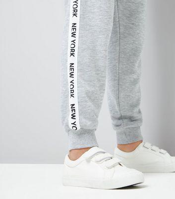 Teens Grey New York Slogan Print Side Tape Joggers New Look
