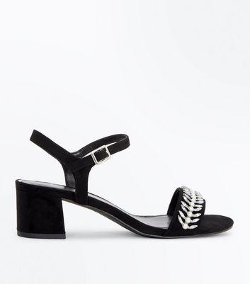 Wide Fit Black Embellished Block Heeled Sandals New Look