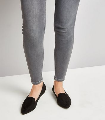 Black Suedette Pointed Loafers New Look